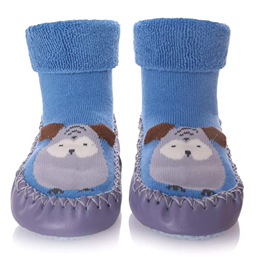c7bfe08456e0 SCOWAY Baby Boys Girls Toddlers Slippers Cute Animal Moccasins Soft Cozy Non -Skid Indoor House