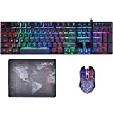 Gaming Keyboard and Mouse Mousepad Combo Mechanical Feeling Rainbow LED Backlight Emitting Character 3200DPI Adjustable USB Mice Compatible with PC Resberry Pi iMac TDB910(Black)