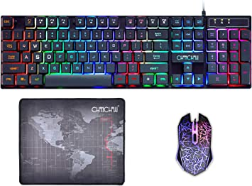 Gaming LED Wired Keyboard and Mouse Combo with Emitting Character USB Mouse Multimedia Keys Rainbow Backlight Mechanical Feeling for PC with Mouse