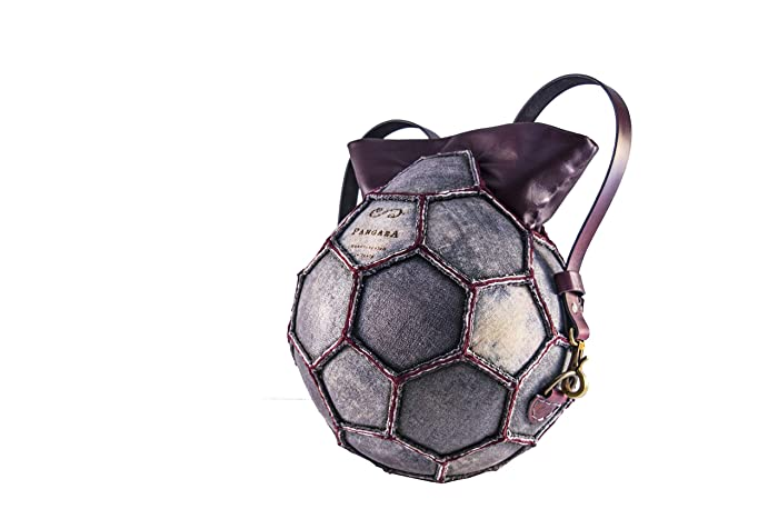 6a3206085a4d Grey Soccer ball recycled bordeaux leather round purse  Amazon.co.uk ...
