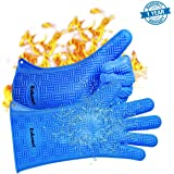 """BBQ Gloves, Super Heat Resistant Silicone Grill Gloves with 13.5"""" Sleeves for Extra Forearm Protection, Waterproof Non-Slip Oven Mitts, Perfect for Cooking, Baking and Grilling"""