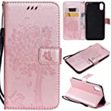 iPhone Xs Max Case,iPhone Xs Max Wallet Case,iPhone Xs Max PU Leather Protective Case Emboss Cat and Tree Folio Magnetic with Card Holder Kickstand and Flip Case for iPhone Xs Max 6.5 Inch Rose Gold