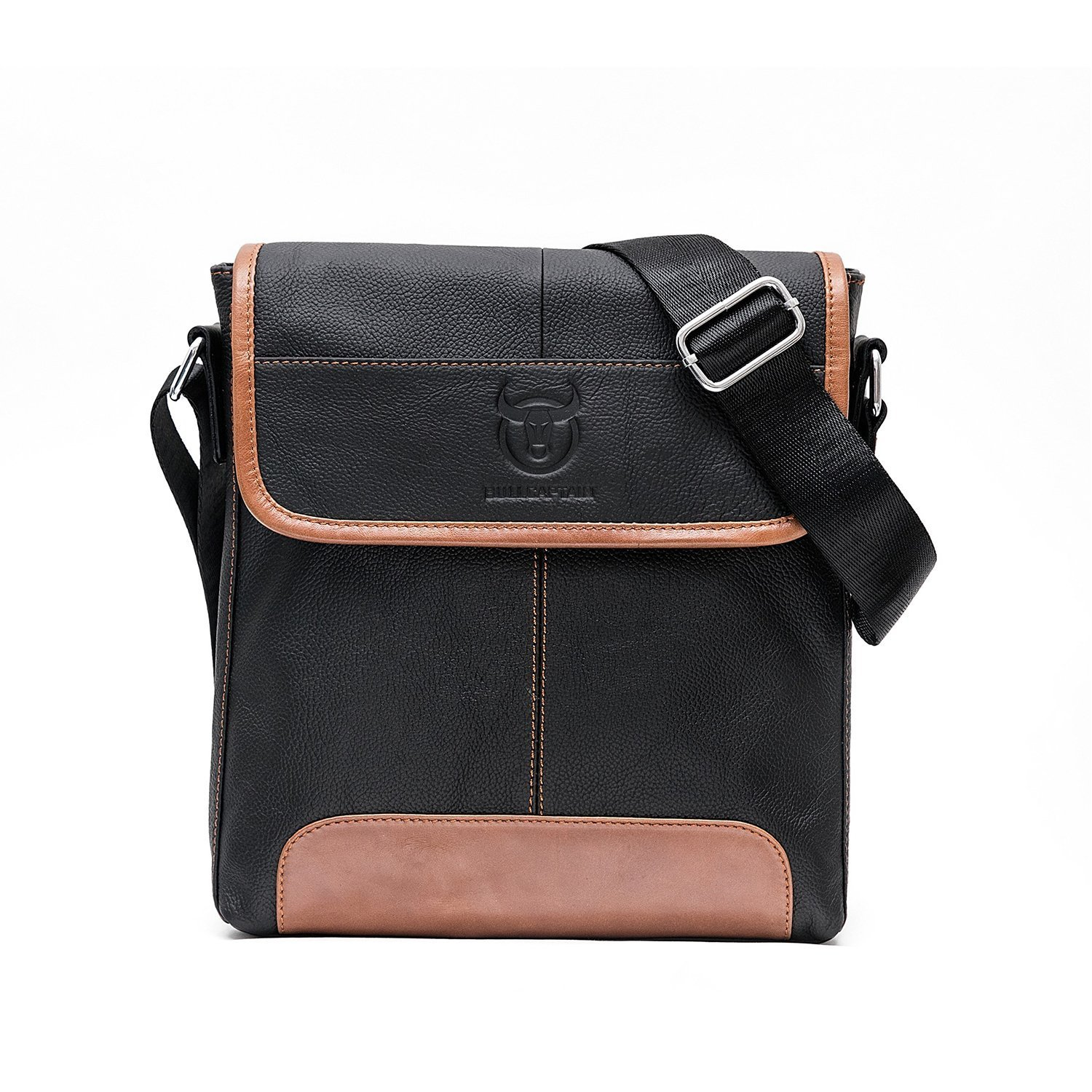 BULL CAPTAIN Black 10 inch Sturdy Casual Leather Man Bag iPad Bag Laptop Messenger Satchel Sling City Flapover Bag ZB-031