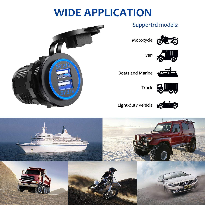 4.2A-Bleu 24 V Imperm/éable /à leau Prise de Puissance pour Voiture Bateau Marine Moto CHGeek Double USB 4.2A Chargeur Socket 12 V