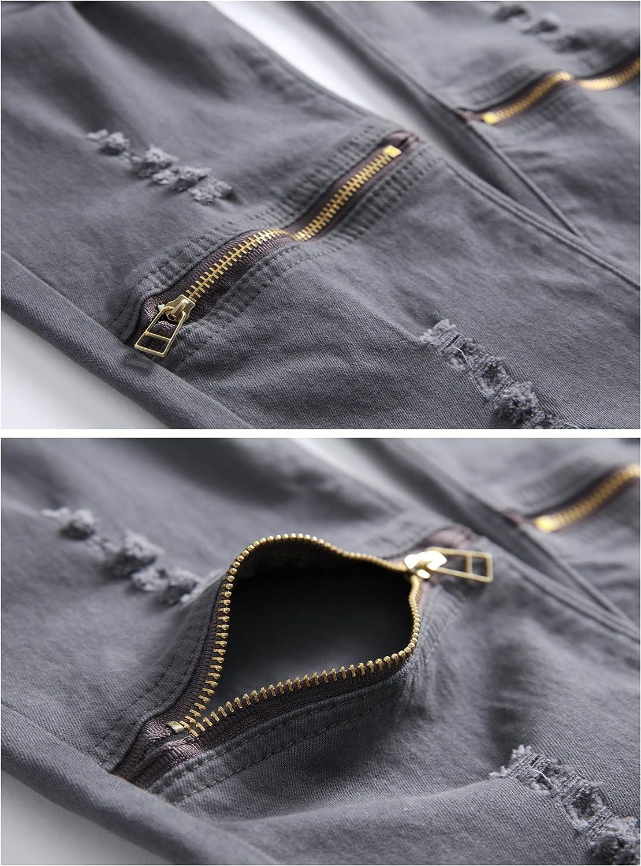Fredd Marshall Boy/'s Slim Fit Skinny Ripped Distressed Zipper Jeans Pants