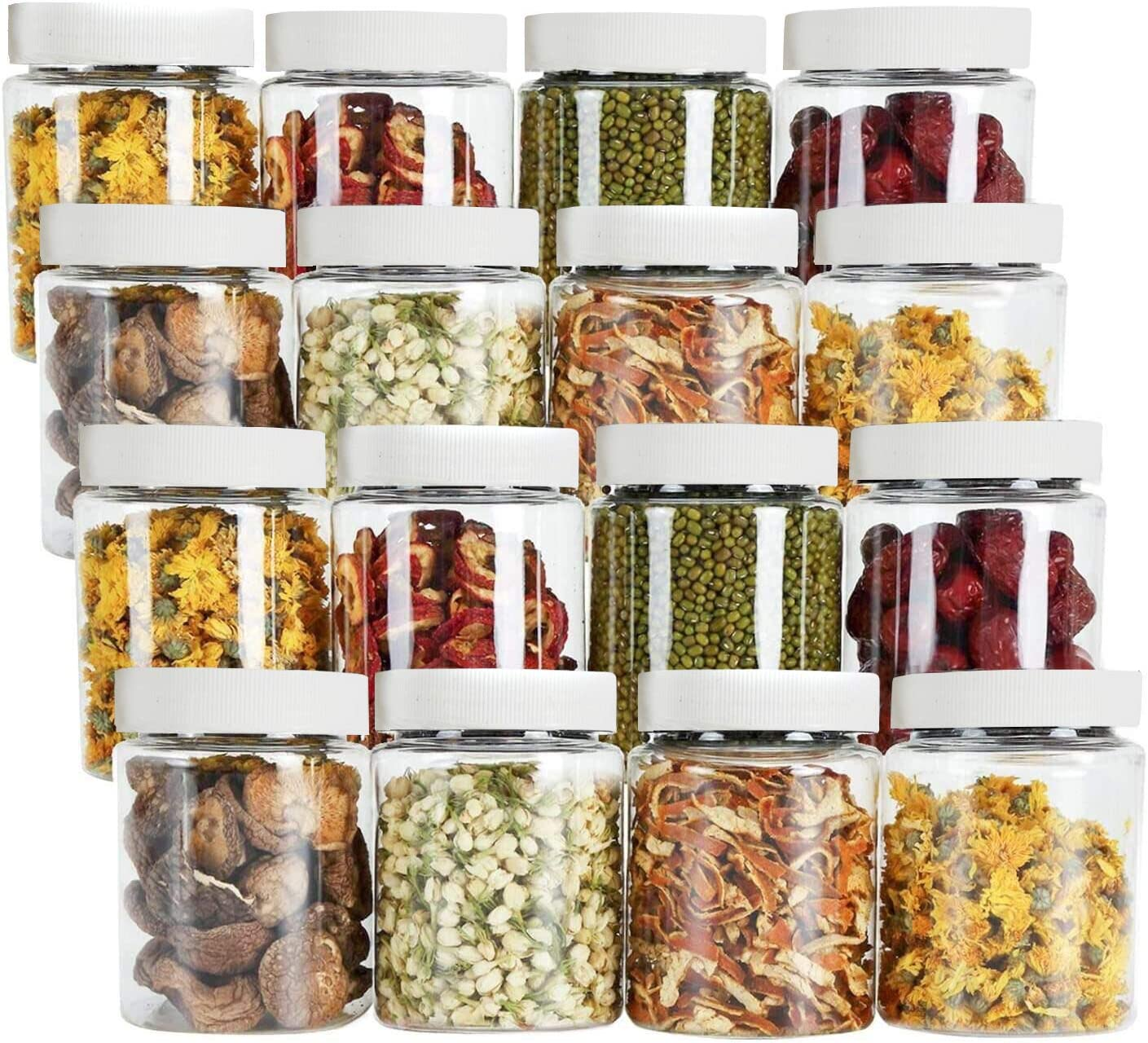 Tebery 16 Pack Round Plastic Jars Bottles Canisters with White Ribbed Lids 16-Ounce Airtight Food Containers for Kitchen & Household Storage