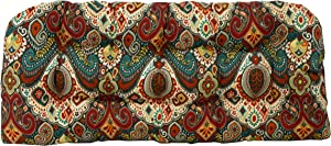 "RSH Décor Indoor Outdoor Floral Wicker Tufted Loveseat Settee Cushion - Retro Bohemian Paisley (41"" x 19"")"
