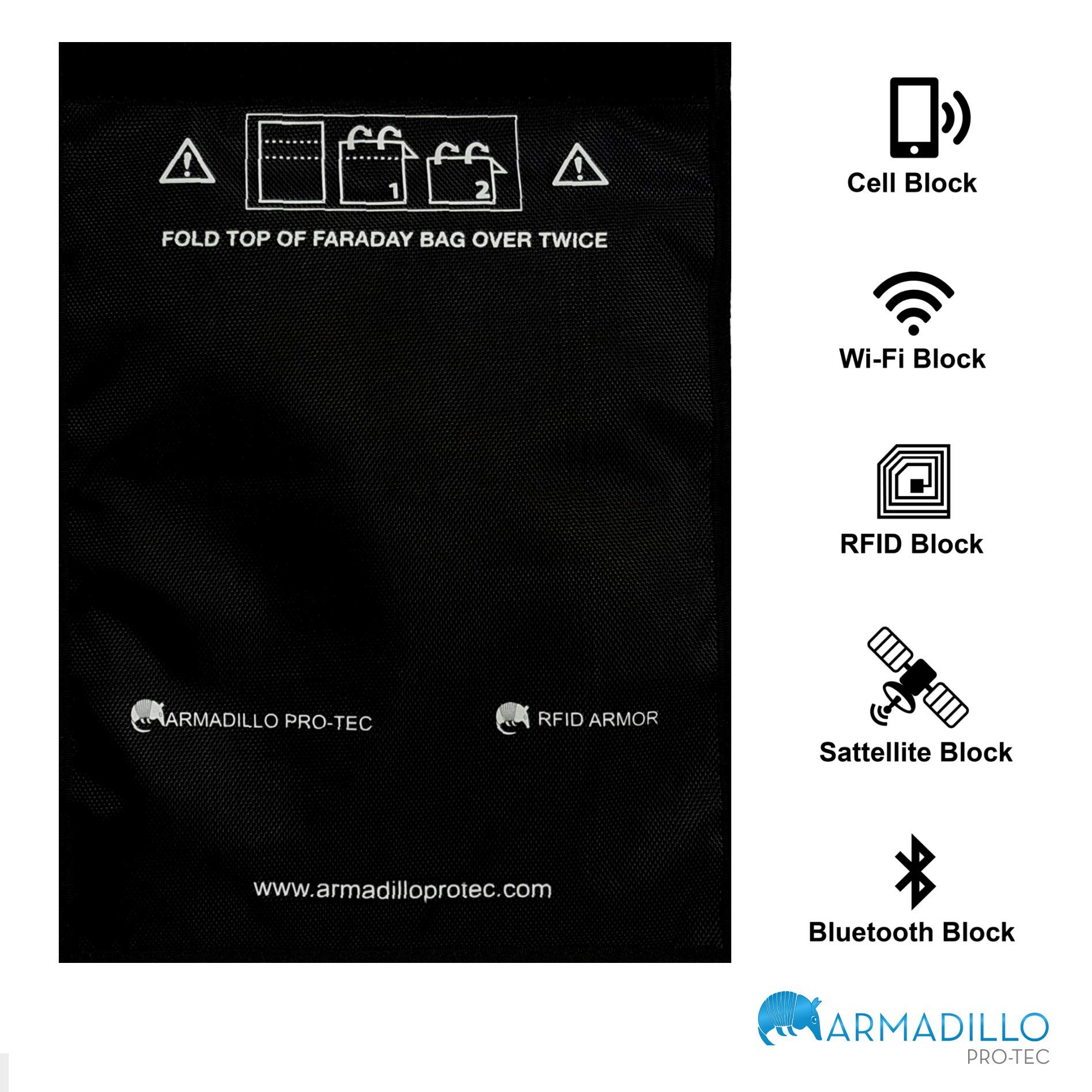 Armadillo Pro-Tec Faraday Bag for Tablets, Cell Phones, Car Key Fobs - Device Shielding for Law Enforcement, Military, Executive Privacy, Travel & Data Protection, Anti-Hacking & Anti-Tracking