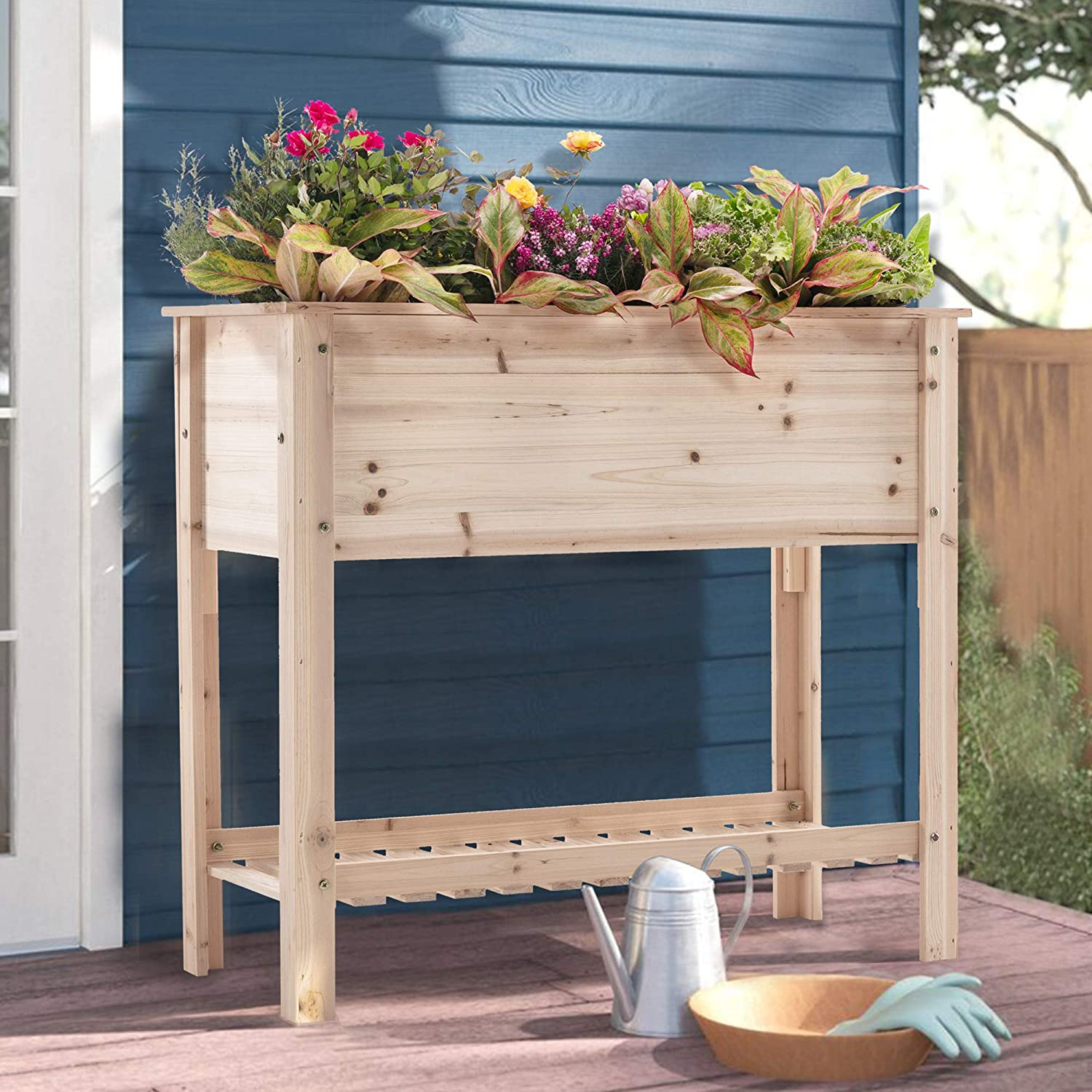 SIMFLAG Raised Garden Bed with Legs, Wood Planters Bed with Large Storage Shelf,36x15.9x31.6-inch Garden Boxes Outdoor Raised Suitable for Vegetable, Flower,Herb