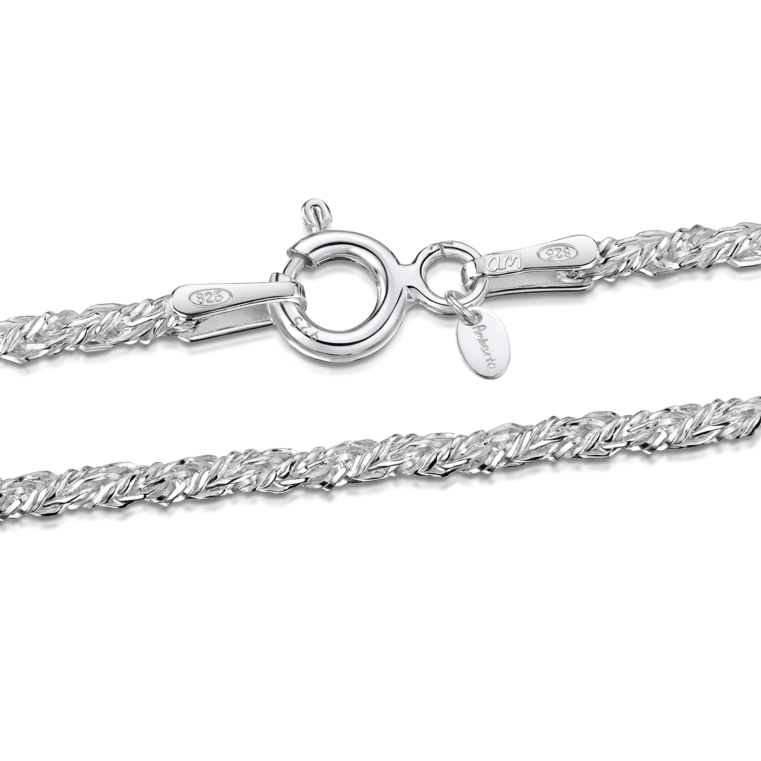 Amberta 925 Sterling Silver 3.5 mm Ball Bead and Bar Chain Bracelet Size 7 7.5 8 in