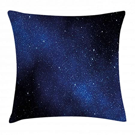 Ambesonne Night Sky Throw Pillow Cushion Cover, Nebula Galaxy Stars Milky Way in Ombre Colors Outer Space Universe Image, Decorative Square Accent Pillow Case, 24 X 24 , Blue White