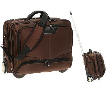 Dermata - Bolsa portátil con ruedas para ordenadores portátiles (17 pulgadas Max. 41 x 29 cm] con correa de hombro/marrón: Amazon.es: Informática