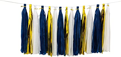Gold and Blue DIY Tissue Paper Tassels Party Decoration Supplies Sets 20 PCS Tassel Garland Banner for Birthday Party Bridal Shower Wedding Gold Garland Bunting Pom Pom