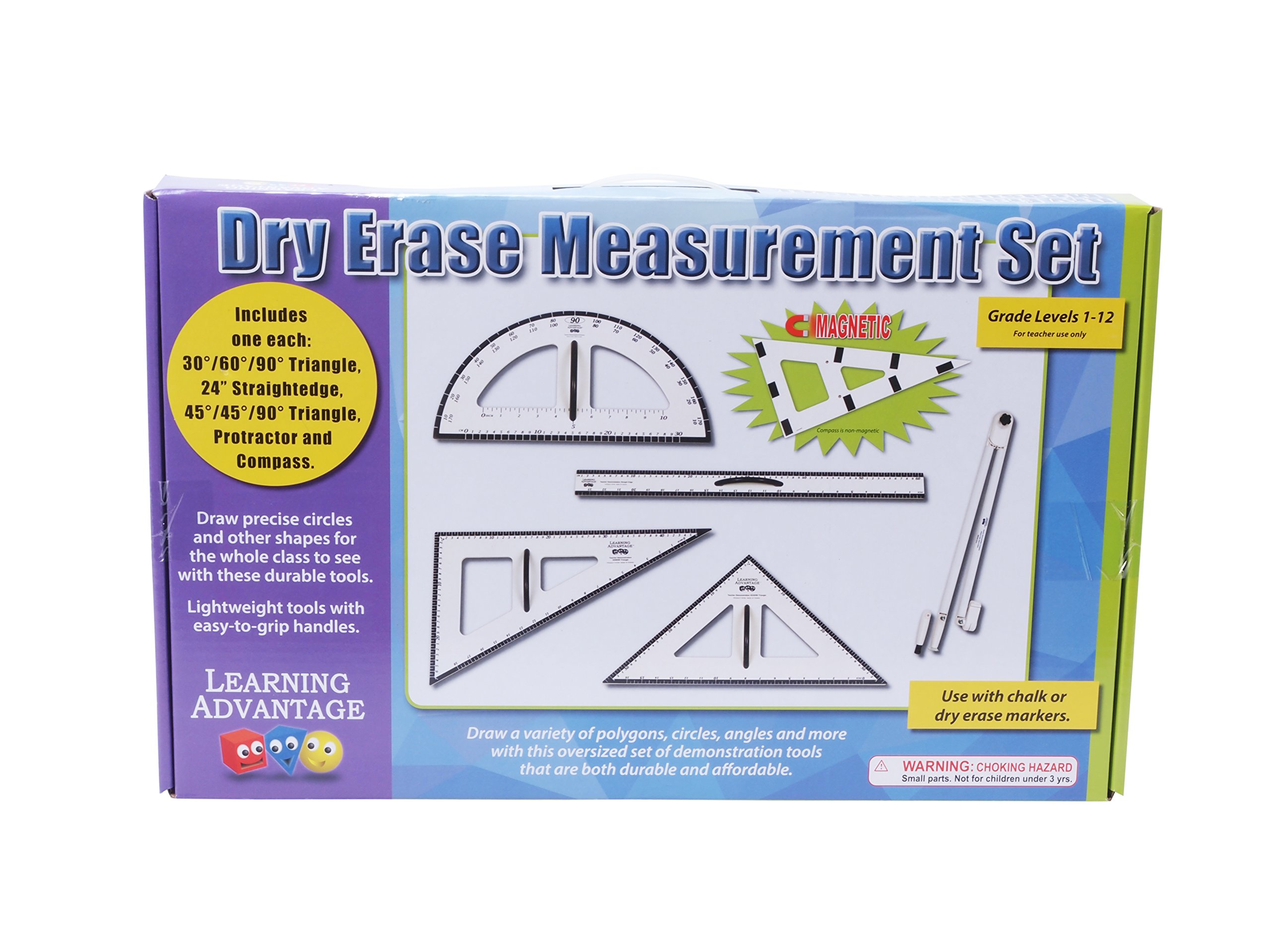 Learning Advantage Dry Erase Magnetic Measurement Set Whiteboard Compass, Protractor, Ruler and Triangles by Learning Advantage (Image #2)