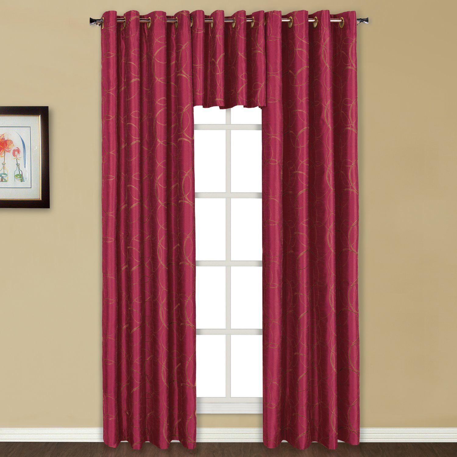 Amazon.com: United Curtain Sinclair Embroidered Grommet Valance, 54 By  18 Inch, Burgundy: Home U0026 Kitchen