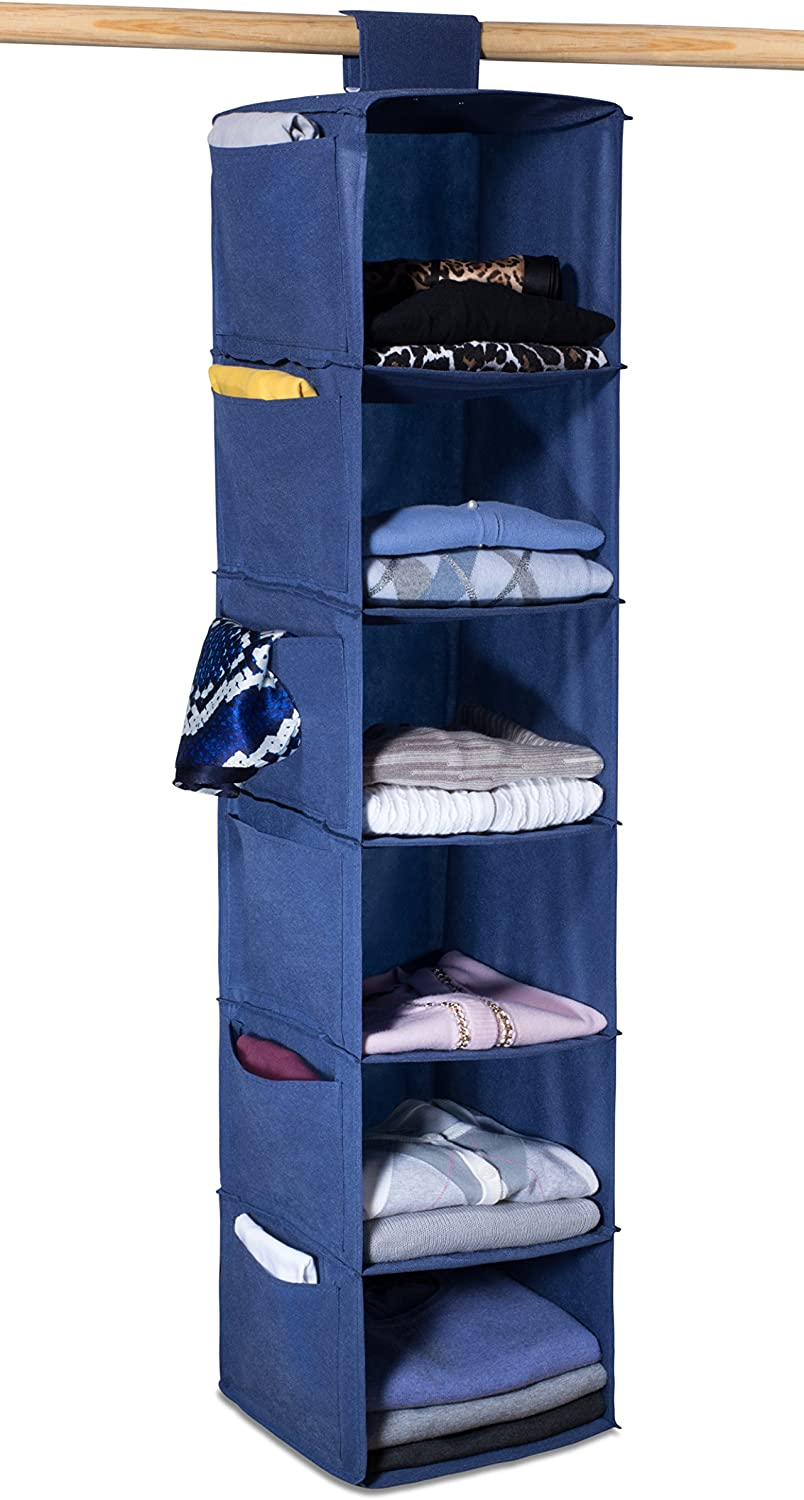 Hanging Sweater Organizer, 6 Shelves - Easily Organize and Maintain Your Sweaters Shape. Additional Six Side Pockets for Clothing Accessories. Attaches to Closet Rod with Heavy Duty Fastener. (Blue)