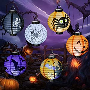 CRCZK Halloween Decorations, 6 Pack Paper Lanterns with LED Light for Halloween Party Supplies Holiday Decor for Indoor Outdoor