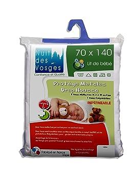 Nuit des Vosges 2035469 Céline Protector de colchón impermeable para bebé Algodón blanco 140 x 70 cm: Amazon.es: Hogar
