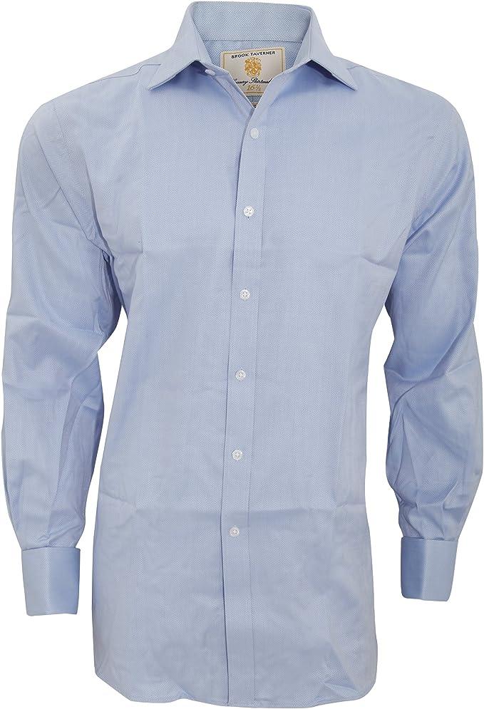 Brook Traverner - Camisa formal de manga larga para trabajar Modelo Andora hombre caballero - Trabajo/Fiesta/Verano (Cuello 38cm/Azul Herringbone): Amazon.es: Ropa y accesorios