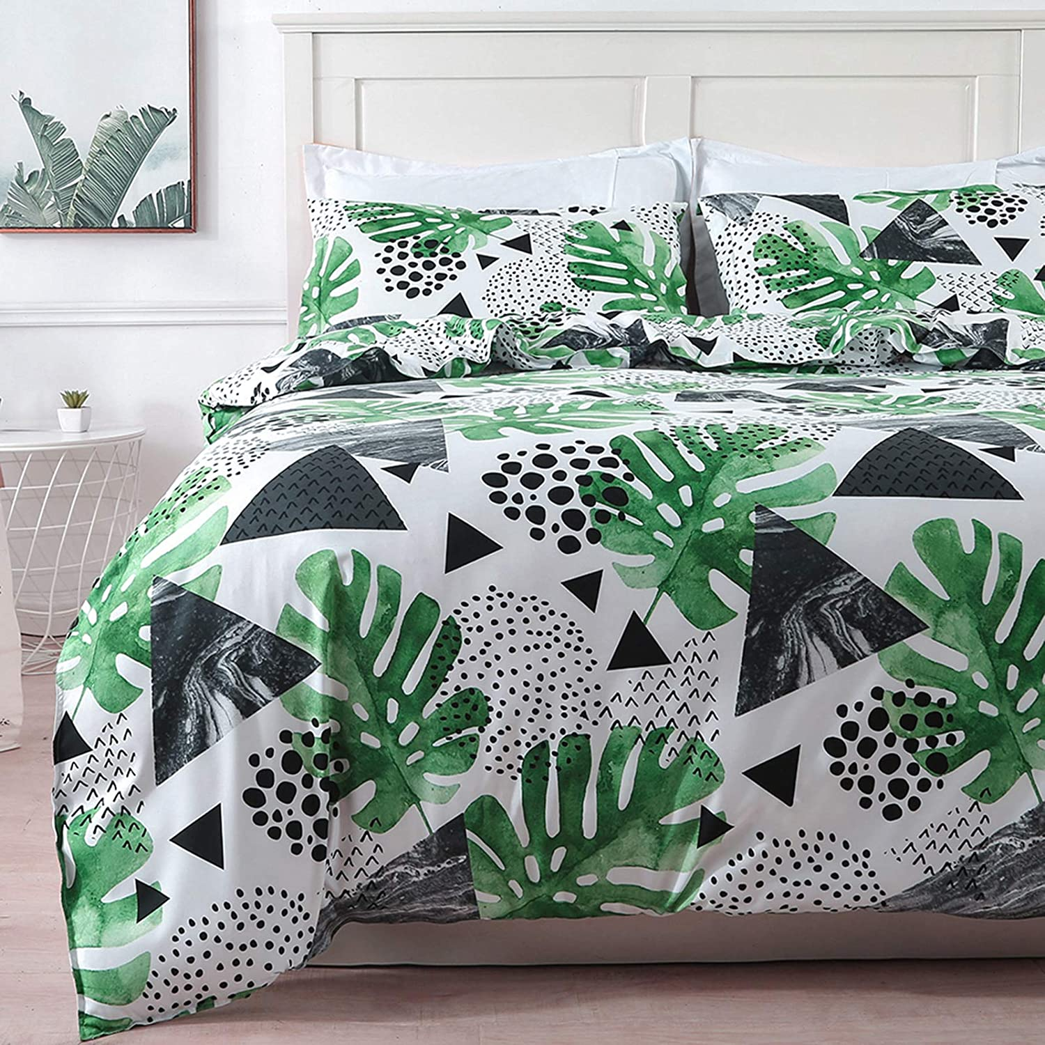 Colorxy Green Monstera Duvet Cover 3 Piece Set - Ultra Soft Microfiber Reversible Tropical Plant Printed Comforter Cover with Zipper Closure, Corner Ties and 2 Pillow Shams, Full/Queen (90x90 inches)