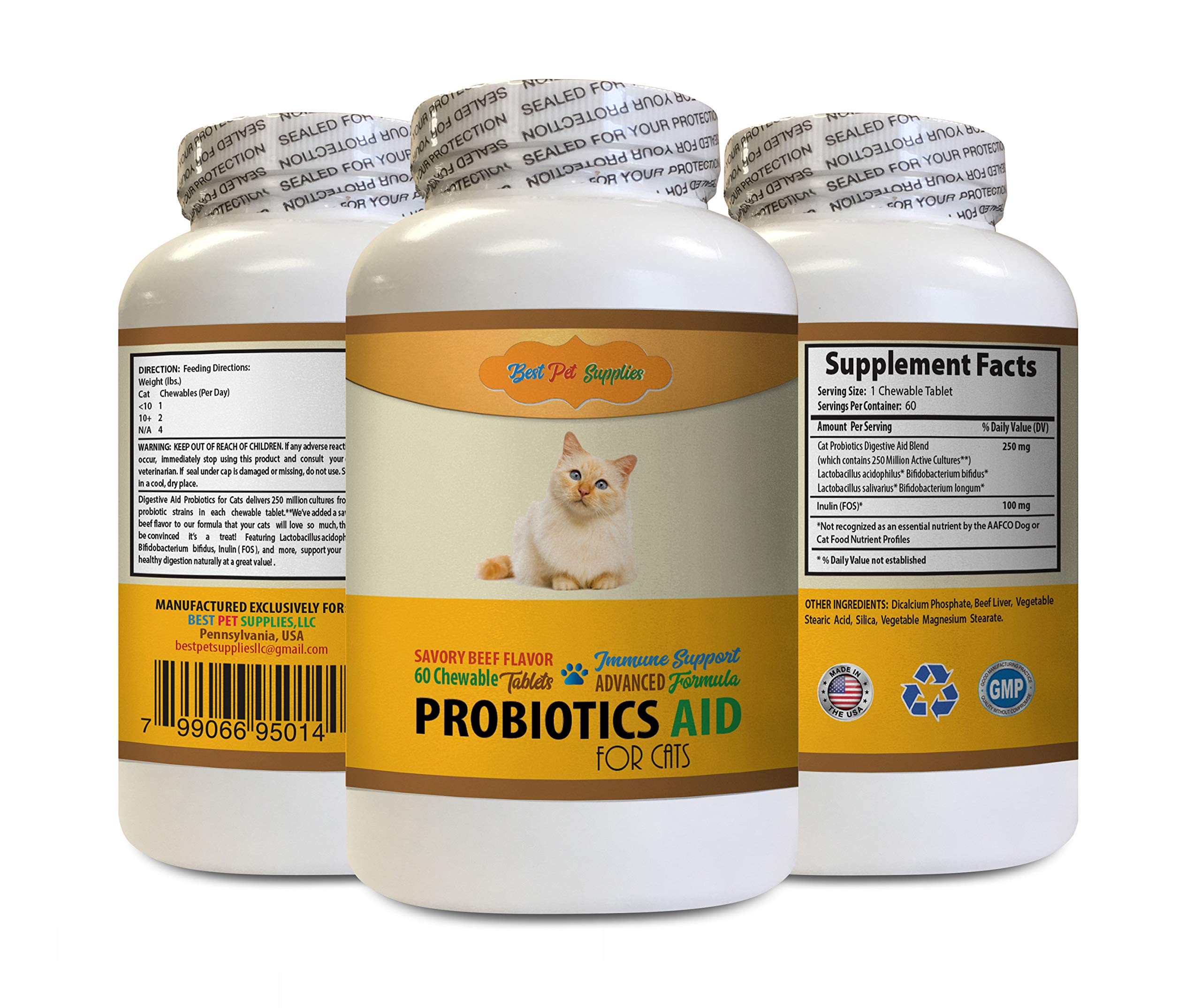 BEST PET SUPPLIES LLC cat probiotics Immune - PROBIOTICS AID for Cats - Immune Support - Healthy Digestive Tract - acidophilus for Cats - 1 Bottle (60 Treats) by BEST PET SUPPLIES LLC