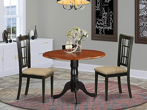 East West Furniture DLNI3-BCH-C Dining Room Set 3 Pc