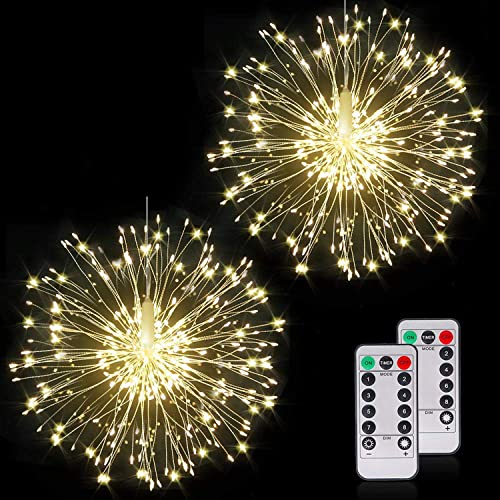 Starburst Firework Lights 200 LEDs String Lights, DIY 8 Modes Dimmable Fairy Lights with Remote Control, Battery Operated IP65 Waterproof Hanging Copper Wire Light for Party Indoor Outdoor Decoration
