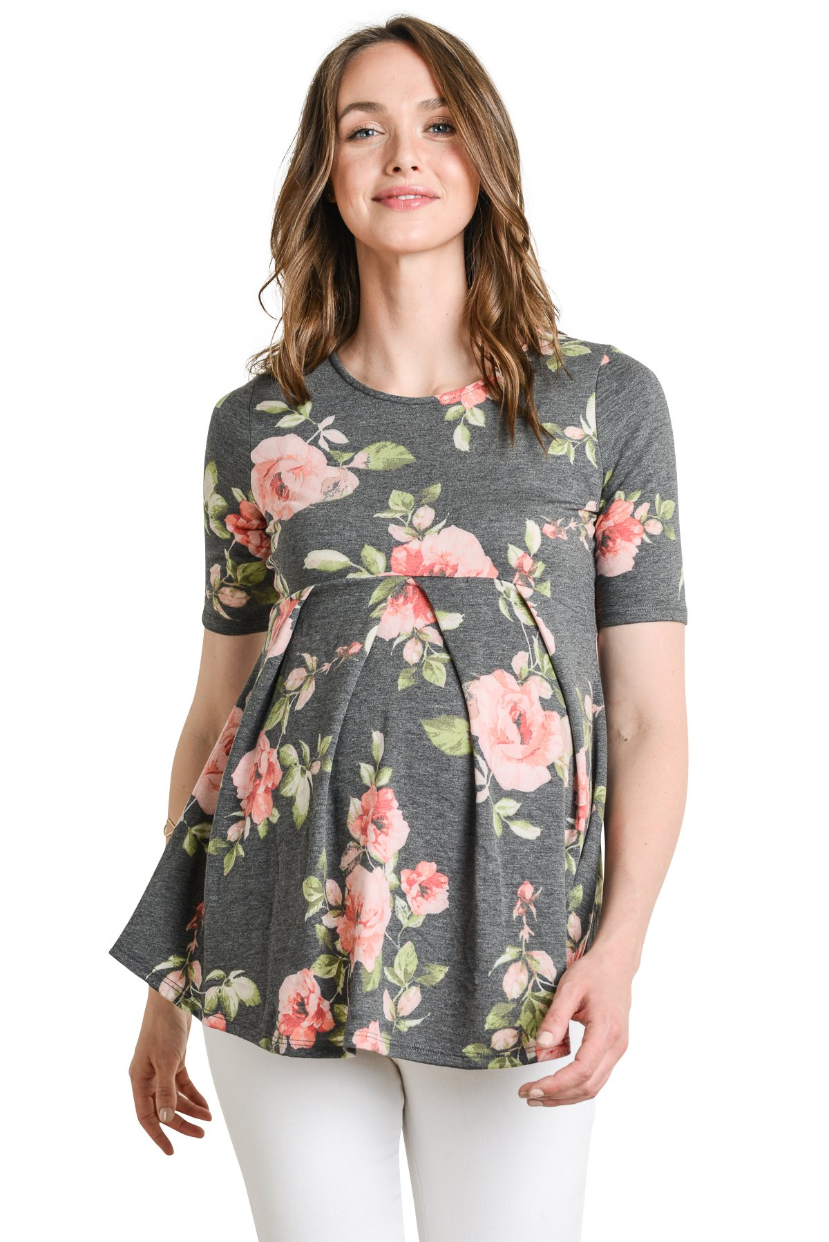 LaClef Women's Round Neck Front Pleat Peplum Maternity Top (Black Floral, Large)