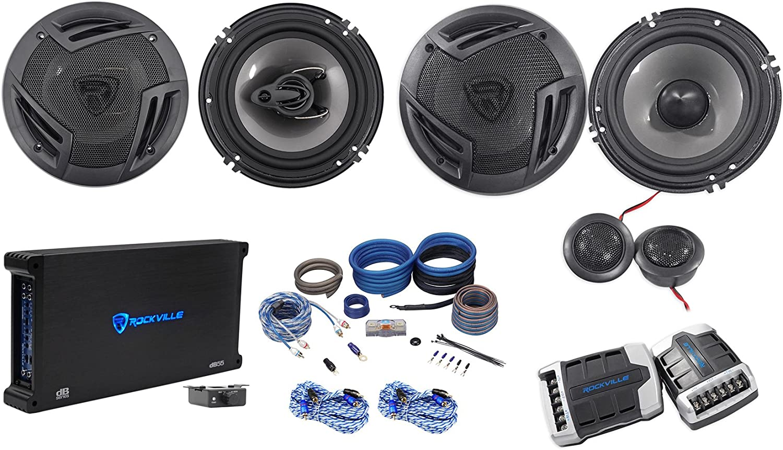 5-Ch Amplifier Amp Kit Rockville RV65.2C 6.5 Component+Coaxial Car Speakers