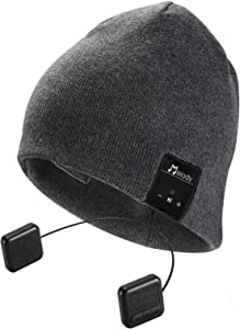 Bluetooth Beanie Hat, Topple Bluetooth V4.1 Wireless Headphone Beanie Hat with HD Stereo Earphone Speaker &Mic,Unisex Washable for Men Women Winter Outdoor Fitness -Dark Grey