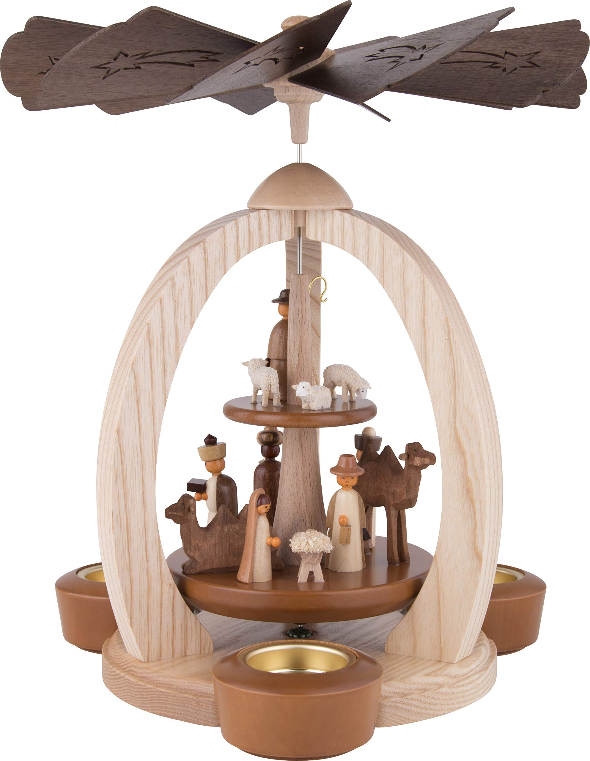 2-Tier Christmas Pyramid Nativity - Exclusive - 28 cm / 11 inch - Christmas Carousel - Erzgebirge Pyramid - 100% Made in Germany