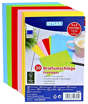 100 5 X 20 Coloured Envelope C6 Colourful Envelope Din C6 100