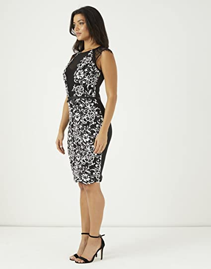 ad388914cf4426 LIPSY Womens Lace Front Bodycon Dress - Black -  Amazon.co.uk  Clothing