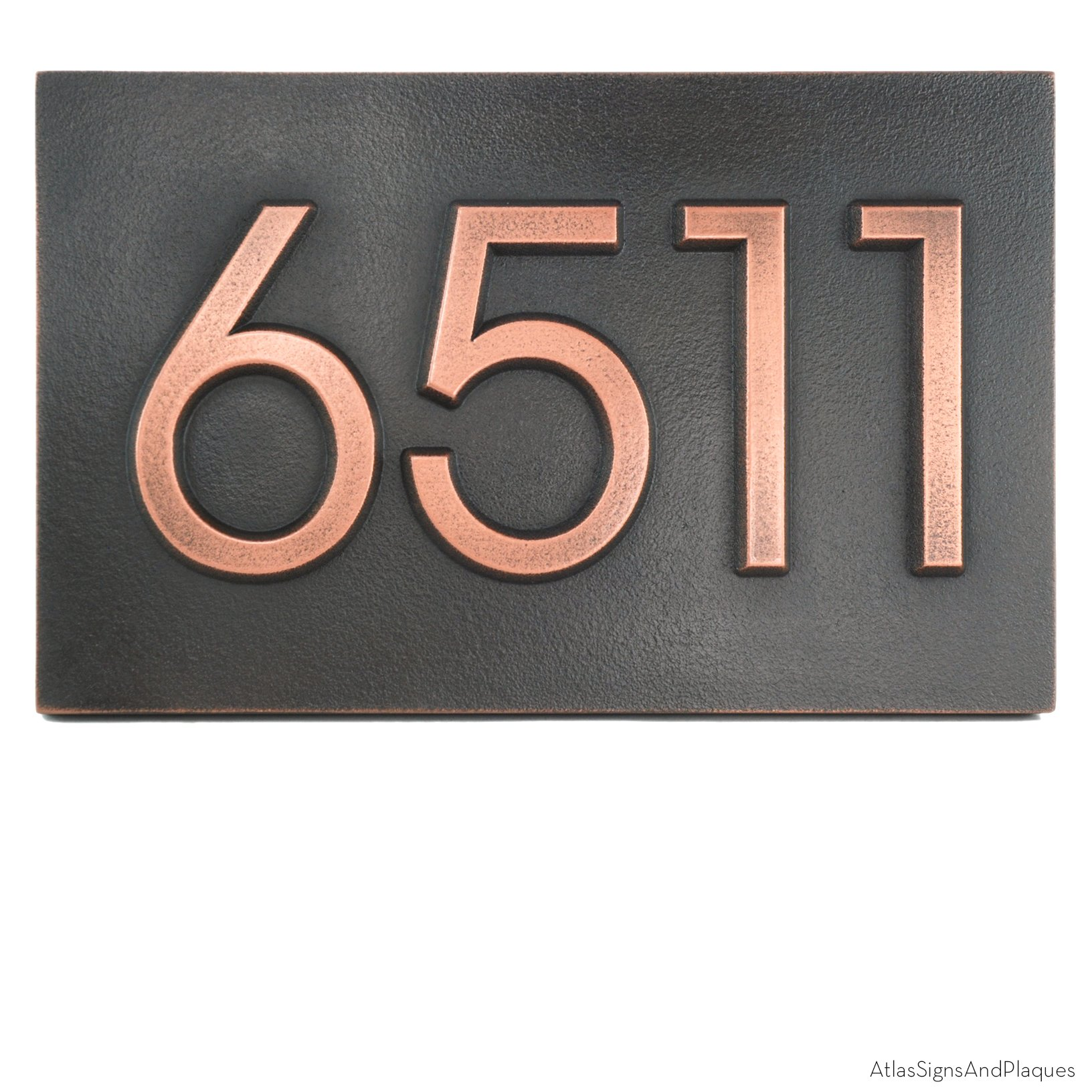 Modern Advantage Address Number Plaque 13x8 - Raised Copper Metal Coated by Atlas Signs and Plaques