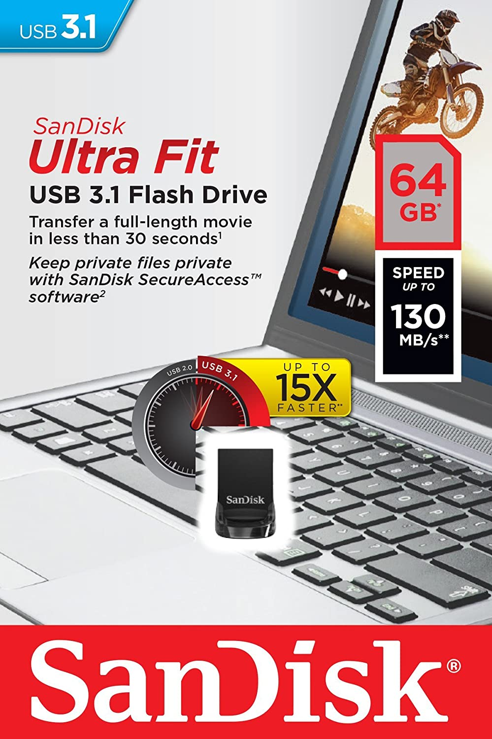 Memoria Flash USB 3.1 SanDisk Ultra Fit de 64 GB con hasta 130 MB/s de Velocidad de Lectura