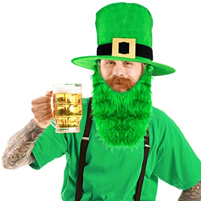 Skeleteen Irish Hat and Beard - Green Leprechaun Top Hat and Beard St Patricks Day Costume Accessories: Clothing