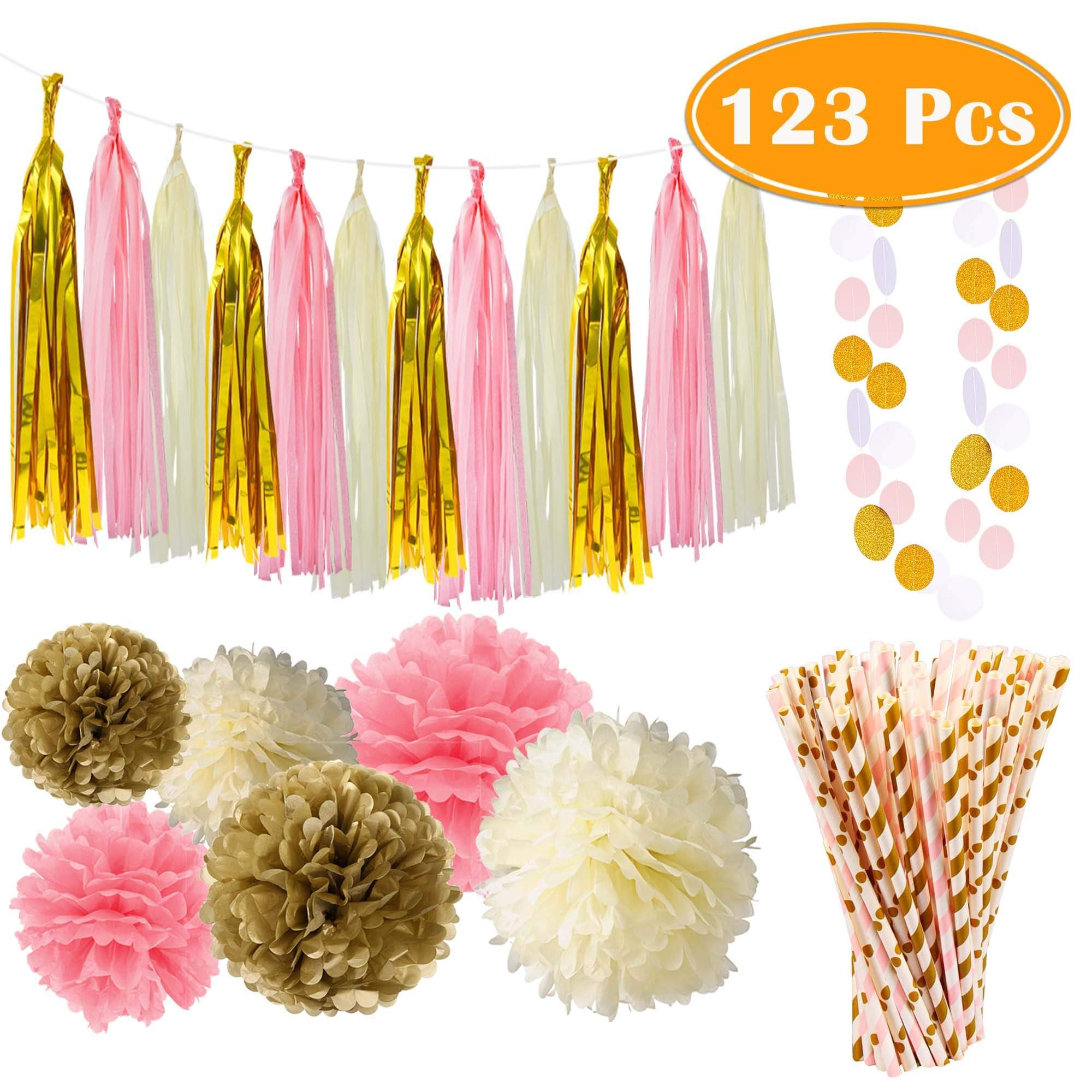 Paxcoo 123 Pcs Pink and Gold Party Supplies with Paper Straws for Mom's Day Decorations, Baby Shower, Birthday and Wedding Decorations