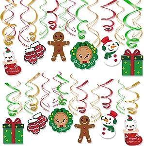 Konsait 30pcs Christmas Hanging Swirl Decoration Kit,Christmas Swirls Garland Green Red Hanging Ceiling Decor,Xmas Snowman Socks Swirls for Xmas Winter Wonderland Holiday Party Decor Supplier