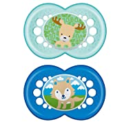 MAM Pacifiers, Baby Pacifier 6+ Months, Best Pacifier for Breastfed Babies, 'Animal' Design Collection, Boy, 2-Count