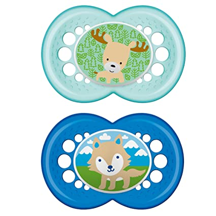 MAM Pacifiers, Baby Pacifier 6+ Months, Best Pacifier for Breastfed Babies, Animal Design Collection, Boy, 2-Count
