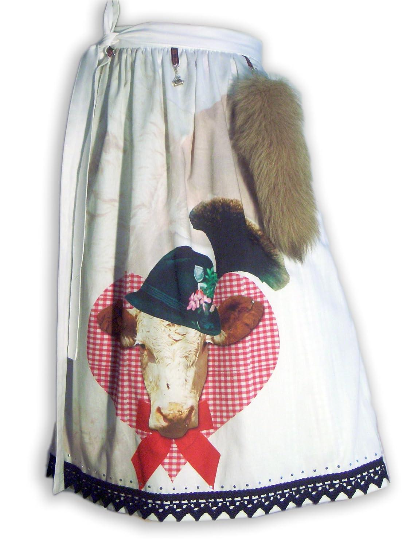 Schürzenliesl, Designer Dirndlschürze Motiv Kuh, Strass, Baumwollspitze mit farblich passendem Fuchsschweif