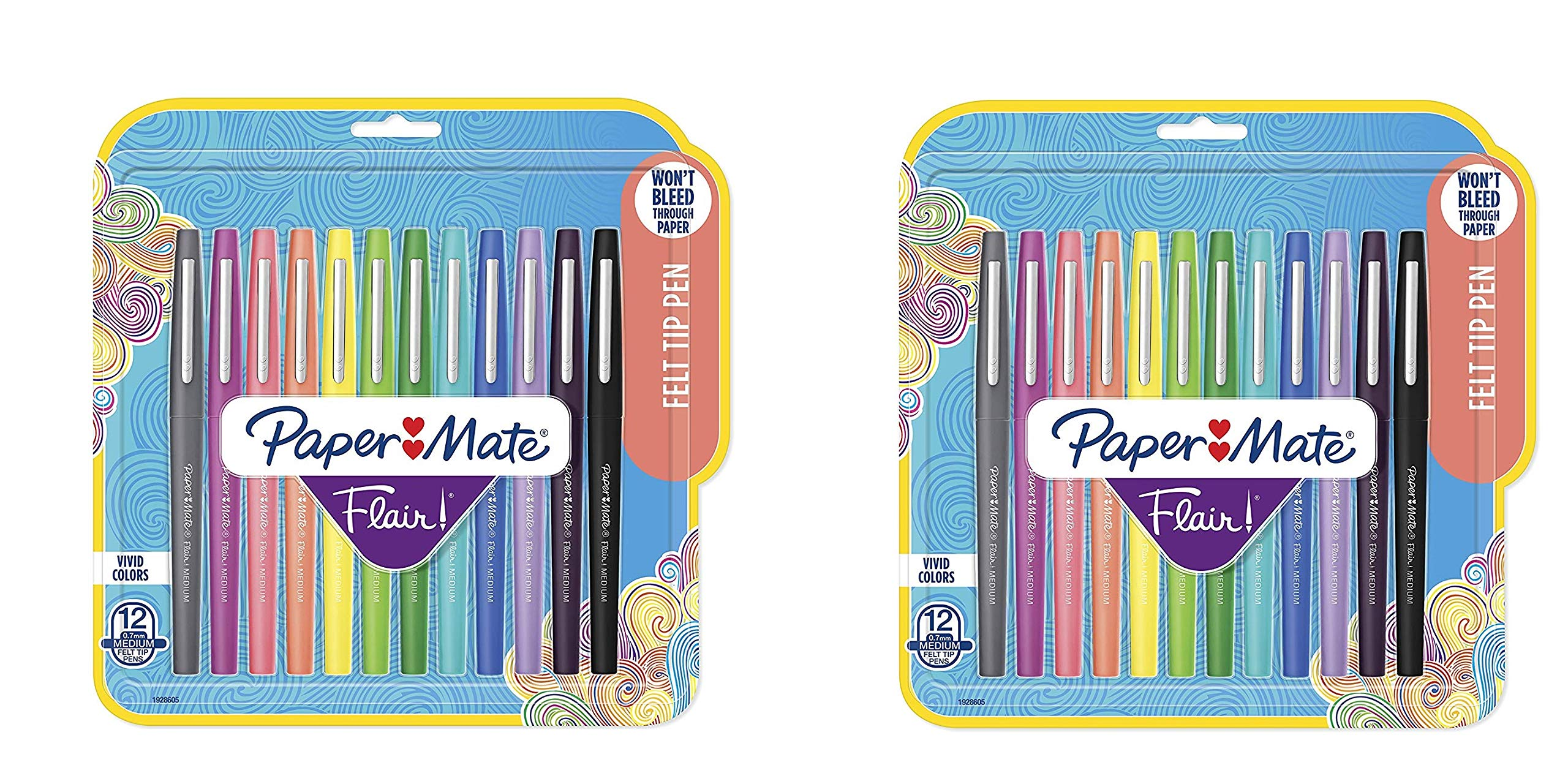 1928605 Flair Felt Tip Pens, Medium Point (0.7mm), Tropical and Classic Colors, 12 Count WypLeG