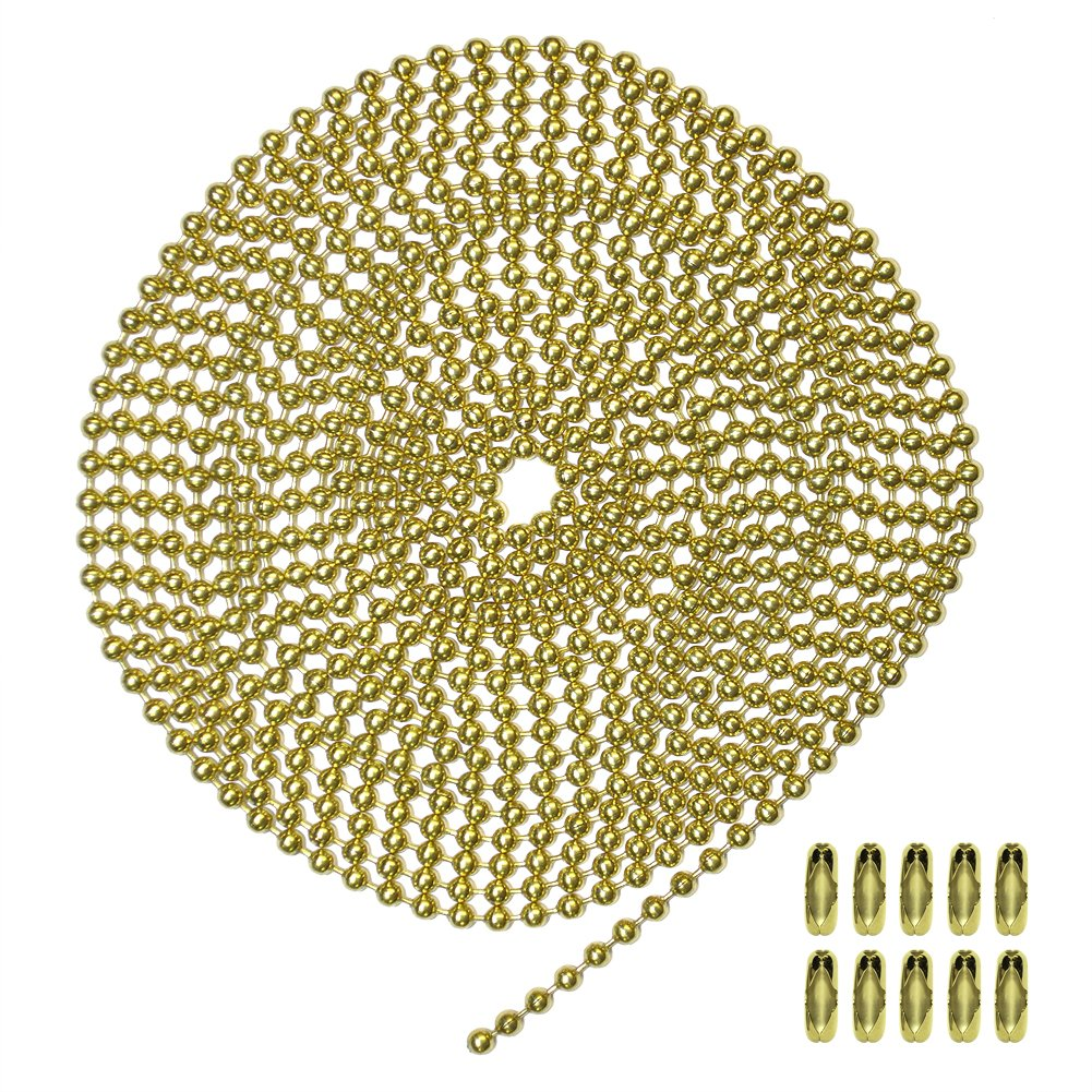 10 Foot Length Ball Chain, #6 Size, Yellow Brass, & 10 Matching Connectors