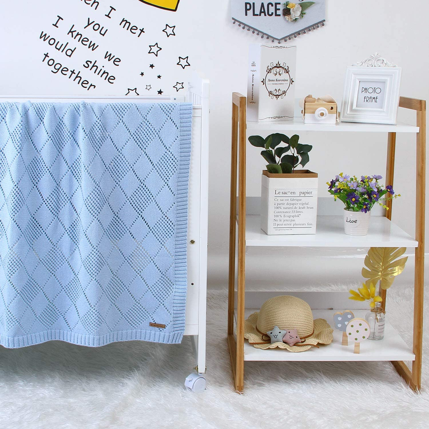 mimixiong Cellular Baby Blankets Blue