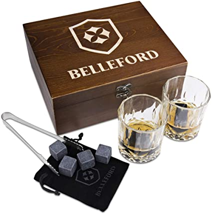 Whiskey Stones & Whiskey Glass Set of 2 Whisky Bourbon Glasses and 8 Scotch Wisky Granite Ice Cubes - Alcohol, Liquor, Wiskey and Wine Accessory Gifts for Men - Large Shot Bar-Ware Bundle Kit for Dad