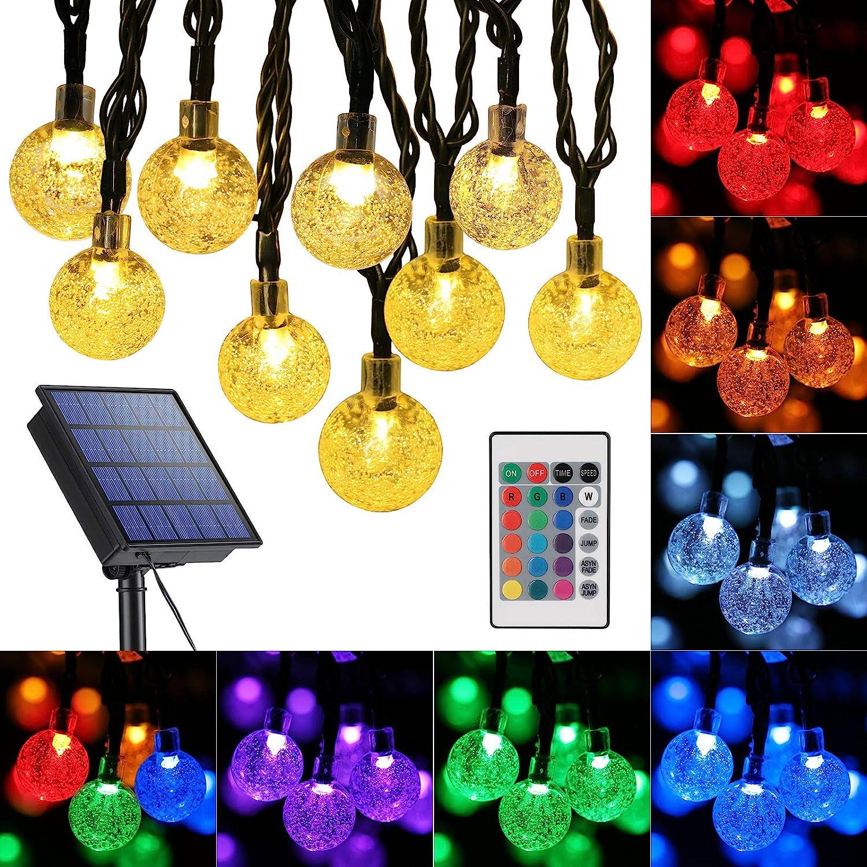 Toodour Globe Solar String Lights, 16 Colors 36Ft 60 LED Outdoor String Lights, Waterproof Crystal Ball Solar Patio Lights, Solar Fairy Lights for Gazebo, Patio, Garden, Yard, Bistro, Holidays (RGB)