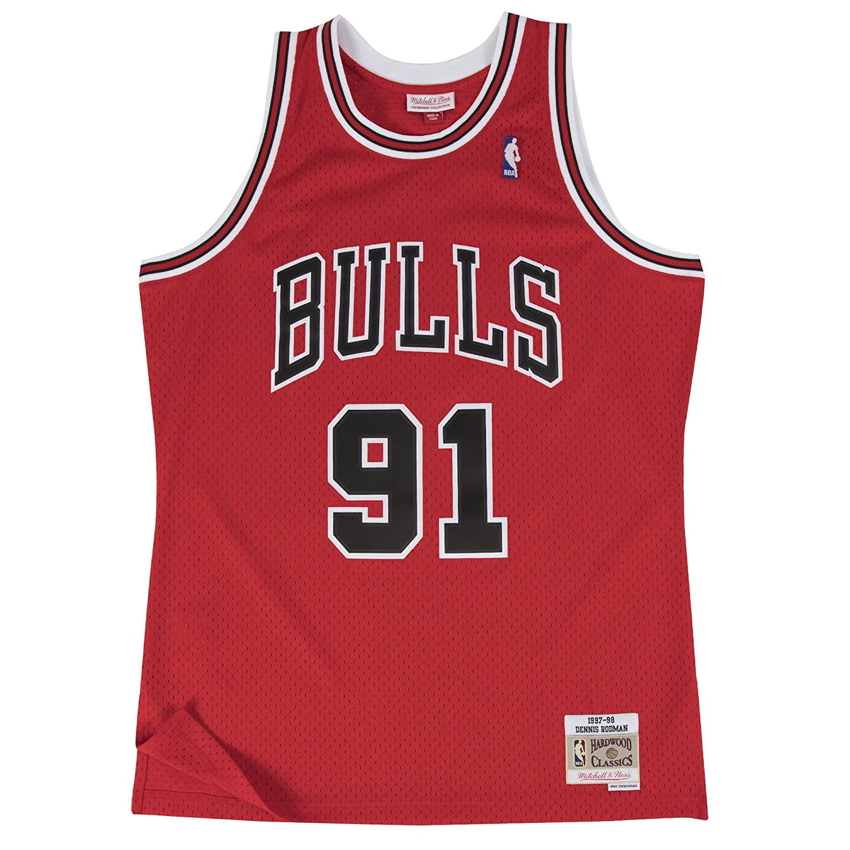 new style f9d81 d4b55 Mitchell & Ness Dennis Rodman Chicago Bulls NBA Throwback HWC Jersey - Red