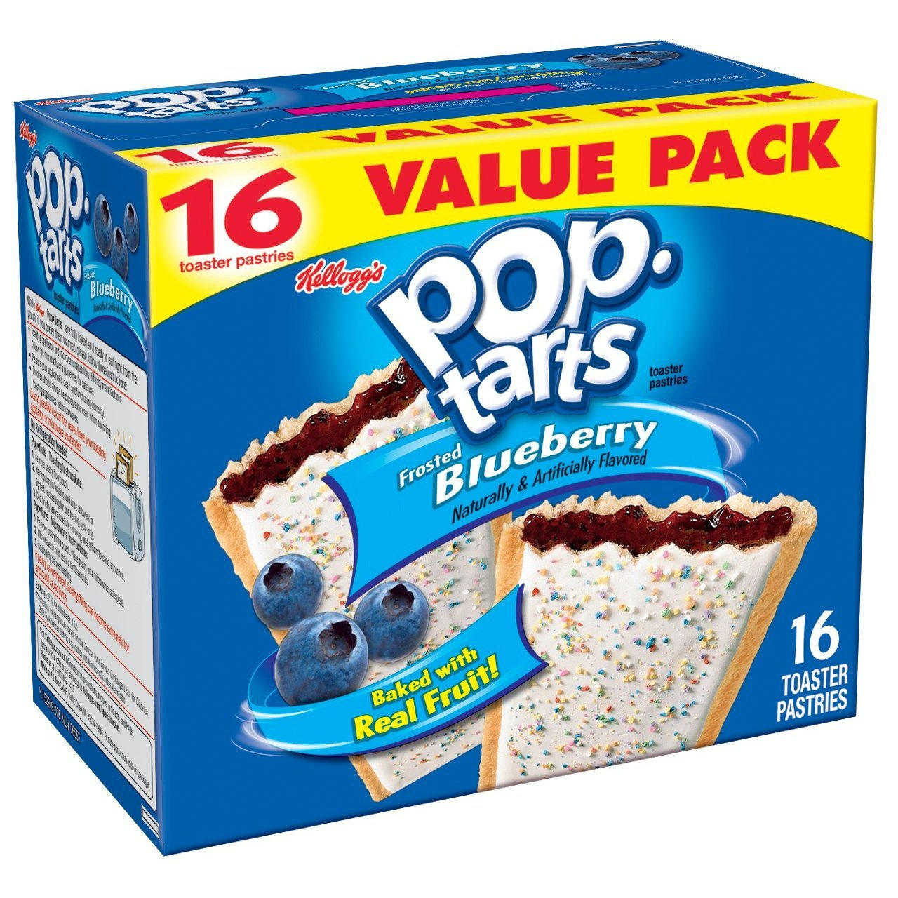 Pop Tarts Frosted Blueberry 16 Count 3 Pack
