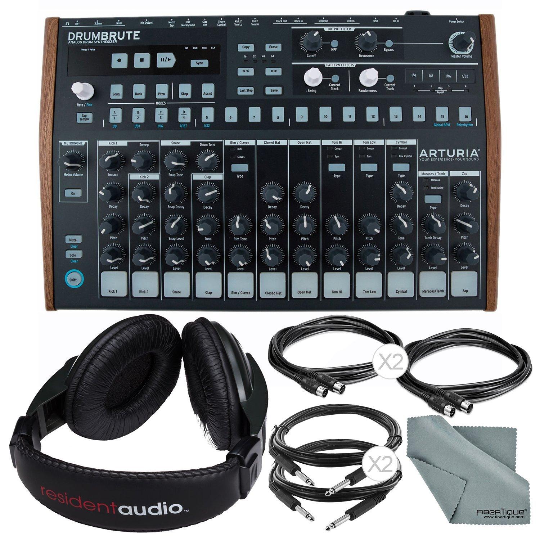 Arturia DrumBrute Analog Drum Machine and Accessory Bundle w/ Stereo Headphones + Cables + Fibertique Cloth