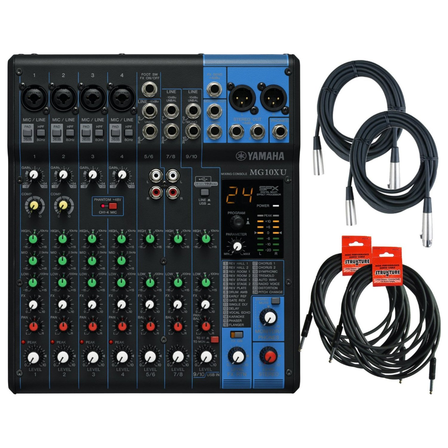 Yamaha MG10XU 10 Input Stereo Mixer (with Compression, Effects, and USB) w/ 2 XL